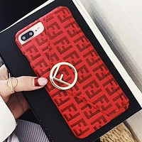 Fendi Fashion New More Letter Envelope Card Couple Personality Phone Case Protective Cover Red