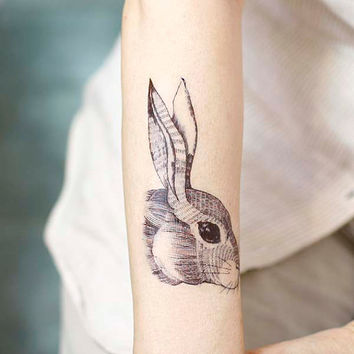 Rabbit head tattoo - Temporary Tattoo T243A