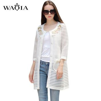 Trench Coat 2017 Hot Sale Women's Trench Coat High Quality Plus Size XL Long Section O-Neck Coats Beading Womens Windbreaker