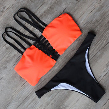 Shoulder Strap Solid Beachwear Girl  Bathing Suit Bikini