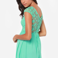 LULUS Exclusive Fleur Get Me Not Mint Green Crochet Dress