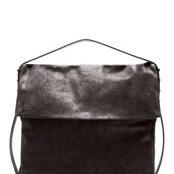 Rick Owens Charcoal Distressed Suede Oversized Hobo Bag