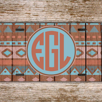 Monogrammed car tag license plate - Navajo wood pattern car tag turquoise and coral - Aztec wood grain car tag, tribal license plate (1256)