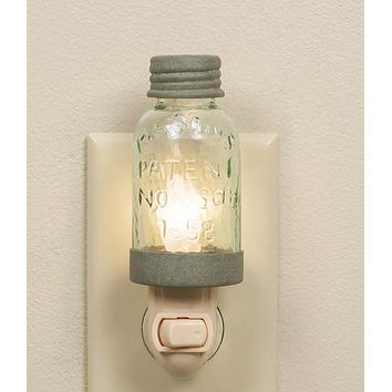Set of 4 Mason Jar Night Lights - Barn Roof