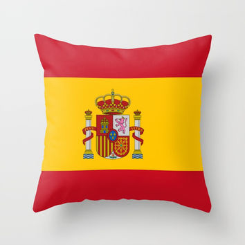 Flag of spain-spain,flag,flag of spain,espana,spanish,espanol,Castellano,Madrid,Barcelona, Throw Pillow by oldking