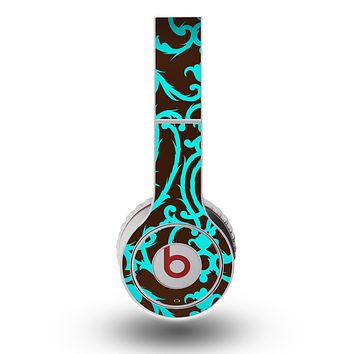 The Blue and Brown Elegant Lace Pattern Skin for the Original Beats by Dre Wireless Headphones