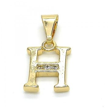 Gold Layered 05.26.0020 Fancy Pendant, Initials Design, with White Cubic Zirconia, Polished Finish, Golden Tone