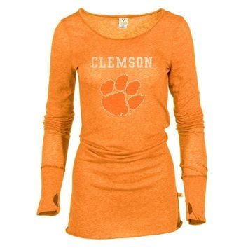 Official NCAA Clemson University Tigers Women's Long Sleeve Tee with Thumbholes