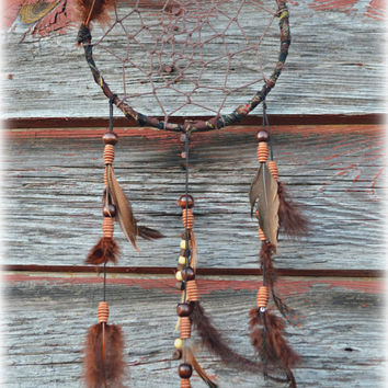 Boho Brown Dream catcher with brown feathers and brown and tan beads// Bohemian Dreamcatcher// Brown dreamcatchers// Rustic Dream Catcher