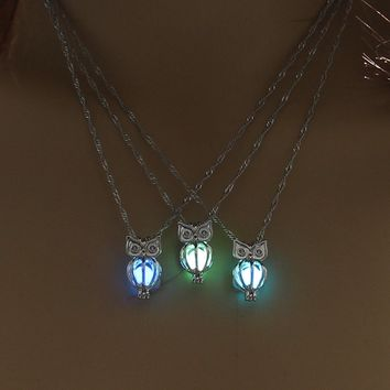 Charm Glowing Owl Pendant Necklace Cute Luminous Jewelry Choker 3 Colors Christmas Gift For Women Necklace Fashion