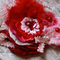 VALENTINE HEADBAND, over the top, stacked, toddler girl, baby, child, photo prop pink red heart, boutique, silk flowers, lace, rhinestones
