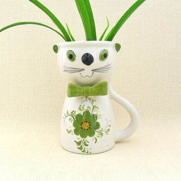 Mod Cat Flower Vase FTD Planter Pot Green Kitty Figurine 1970s Giant Mug Cat Decor Ceramic Vase