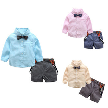 2pcs Baby Boys Clothing set Baby  Long Sleeve Top+Pants  Kids Toddler Gentlemen Bowknot Shirt Suspender Pants Outfit #LD789