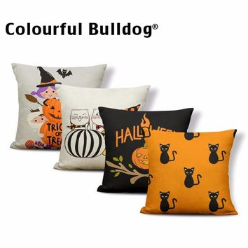 Happy Halloween Pillow Cushion Covers Yellow Skull Moon Cat Throw Pillowcases Pumpkin Bat Spider Trick or Treat Ghost 17*17 In