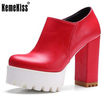 KemeKiss Size 33-43 Sexy Ladies High Heel Ankle Boots Women Platform Zipper Thick Heel Pumps Women Fashion Daily Work Footwears