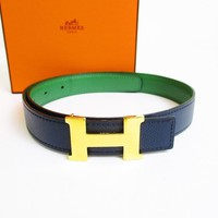Auth HERMES Mini Constance Gold H Buckle Green Leather Belt Waist Size 60 #6986