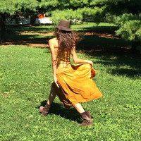 Sale/Strapless Dress Hand Dyed in Golden Yellow Size L-XL