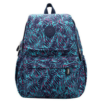 Bamboo Leaf Pattern Color Splicing Nylon Backpack