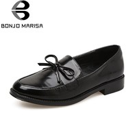 BONJOMARISA New women's Solid Round Toe slip-on Flat butterfly-knot Shoes Woman Casual Spring Flat Oxfords Size 35-39