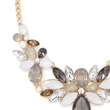 Faux Gem Floral Bib Necklace