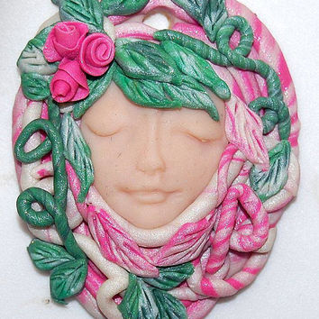 The Spring Goddess Ostara,Tribal Goddess Healer Woman Polymer Clay Art Pendant approx. 2 inches