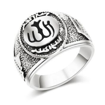 Sale 1pc High Quality Classics Retro Men Ring Muslim Allah Arabic Arabic God Messager Persian Plated Golden/Silvery