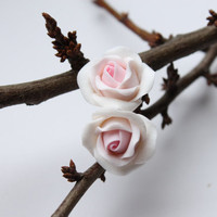 Hand sculpted white and pink flowers Rose earrings by eteniren