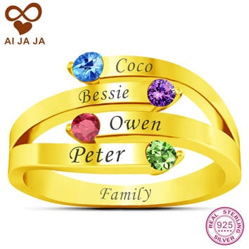 AIJAJA 925 Sterling Silver Personalized 4 Names & Birthstones Mom Ring Gold Color Free Engraving Family Ring Jewelry Mother Gift