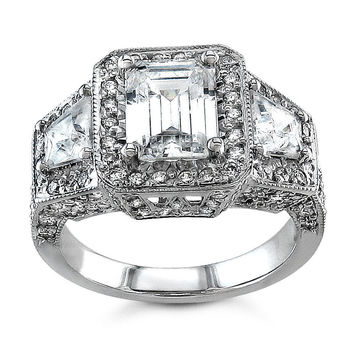 Ladies Platinum antqiue pave diamond engagement ring 1.50 ctw G-VS2 diamonds and 1.50ct White Sapphire center