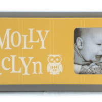 Owl Nursery Decor Art YELLOW and GRAY Personalized Baby Nursery Picture Frames, Decor Photo Frame Custom Order Gifts MOLLY JACLYN