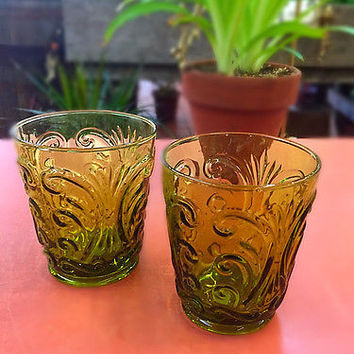 SET OF 2 VINTAGE AMBER TUMBLERS glassware Made in Italy textured