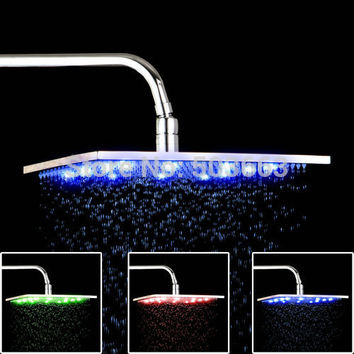 "12""  LED Light Shower Head Water Power Chrome Shower Head"