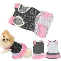 Puppy Dog Princess Dress Dog Dot pet dog clothes dress dog jaket