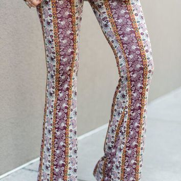 Cher Printed Flare Pants - Floral Wine