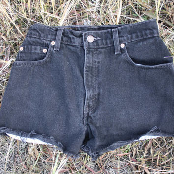 Vintage Levi's High Waisted Denim Cut Off Red Tab Shorts Size 25