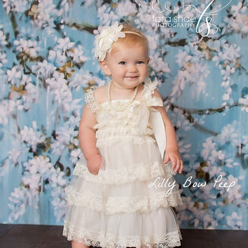 Baby Girl Clothes- Dress-Baby Dress -Baptism Dress-Ivory Lace Dress-Newborn Girl Dress-Christmas Dress-Girl Dress-Christening Dress-Wedding