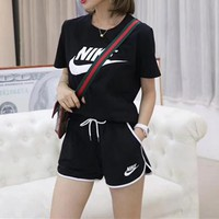 """NIKE""Women Casual Wild Fashion Letter  Printing Short Sleeve  Shorts Two-Piece Casual Wear"