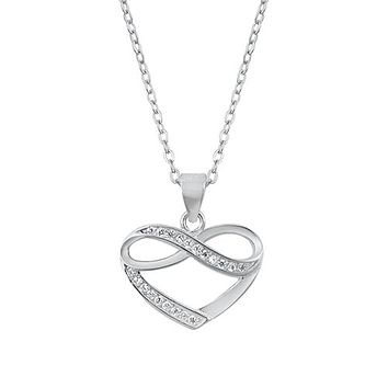 """Italian Sterling Silver Love """"To The Moon & Back"""" Heart Pendant Necklace"""