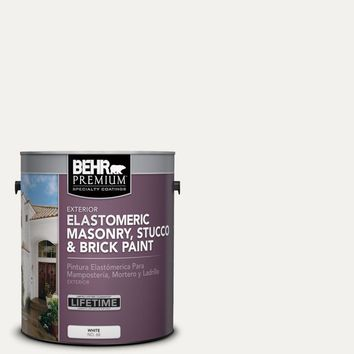 BEHR Premium 1 gal. #MS-39 Crystal White Elastomeric Masonry, Stucco and Brick Exterior Paint-06801 - The Home Depot