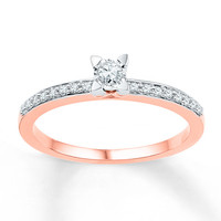 Diamond Promise Ring 1/6 ct tw Round-cut 10K Rose Gold