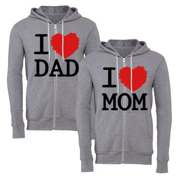 i love mom i love dad matching couple zipper hoodie