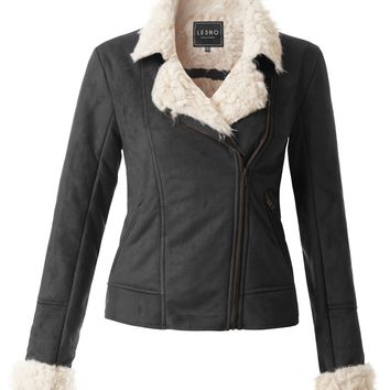 LE3NO Womens Faux Suede Shearling Asymmetrical Biker Jacket with Zipper Pockets