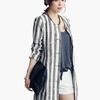 White Vertical Striped Long Cardigan