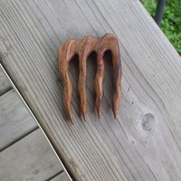 Wood Hair Fork Mesquite Wood 4 Prong Smaller French Twist Bun Pin U.S. Shipping Included (239)