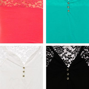 Cap Sleeve Lace V-Neck Top