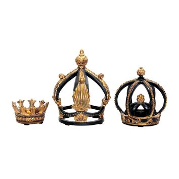 Decorative Crowns In Black And Gold Leaf - Set of 3