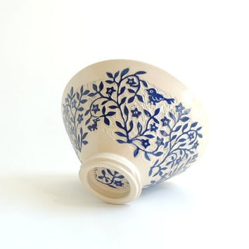 Porcelain Bowl Hand Carved with Blue Birds and Flowers