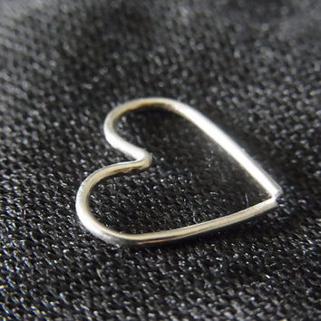 Sterling silver heart cartilage / tragus / rook / daith earring (1pc)