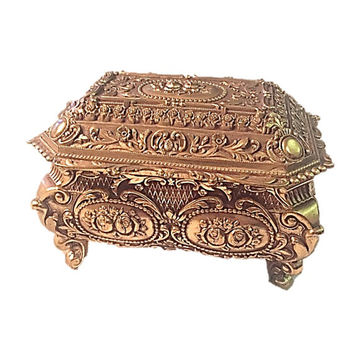 Vintage Ornate Gold Metal Velvet Lined Jewelry Casket/Box Art Nouveau, Casket Brass Repousse Roses Orange Velvet Lining,