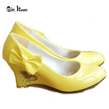 Qin Kuan Women Wedding Shoes Bowtie Patent Leather Pumps Ladies High Heel  Bridal Shoes White Girls Wedge Shoes Plus Size 34-43